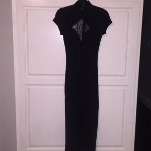 Tadashi super sleek black body con dress cutouts